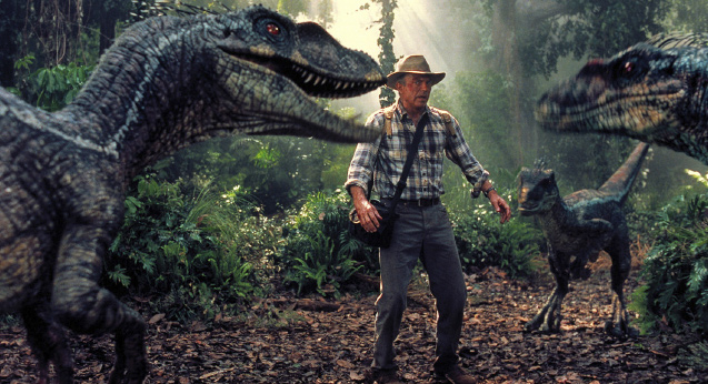 Sam Neill looking anxious in Jurassic Park 3