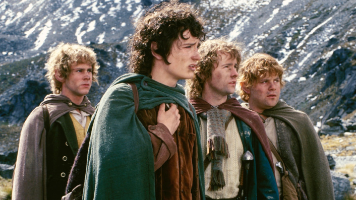 Elijah Wood and his Hobbit gang in The Lord of the Rings
