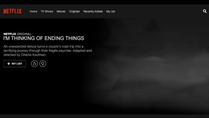 Netflix menu screen of Charlie Kaufman's I'm Thinking of Ending Things