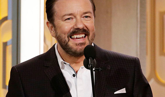 "Watch Ricky Gervais' Golden Globes Monologue. Said He'd ""Try To Be Nice."" He Lied."