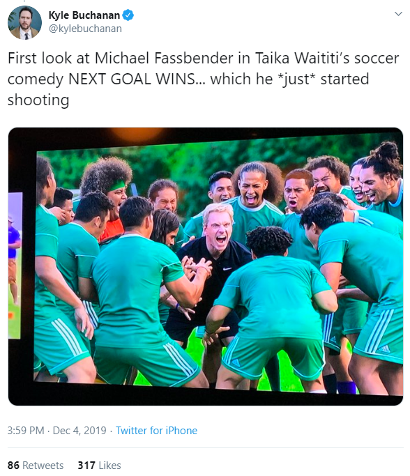 Kyle Buchanan tweets about Michael Fassbender in Taika Waititi's Next Goal Wins