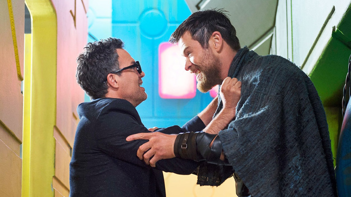 Mark Ruffalo and Chris Hemsworth in Thor: Ragnarok